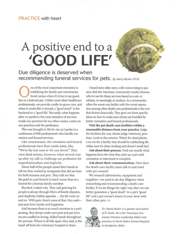 Pet Cremation Article On Positive End To A Good Life