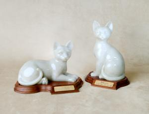 Lying and Sitting Faithful Feline Figurine Cat Urn